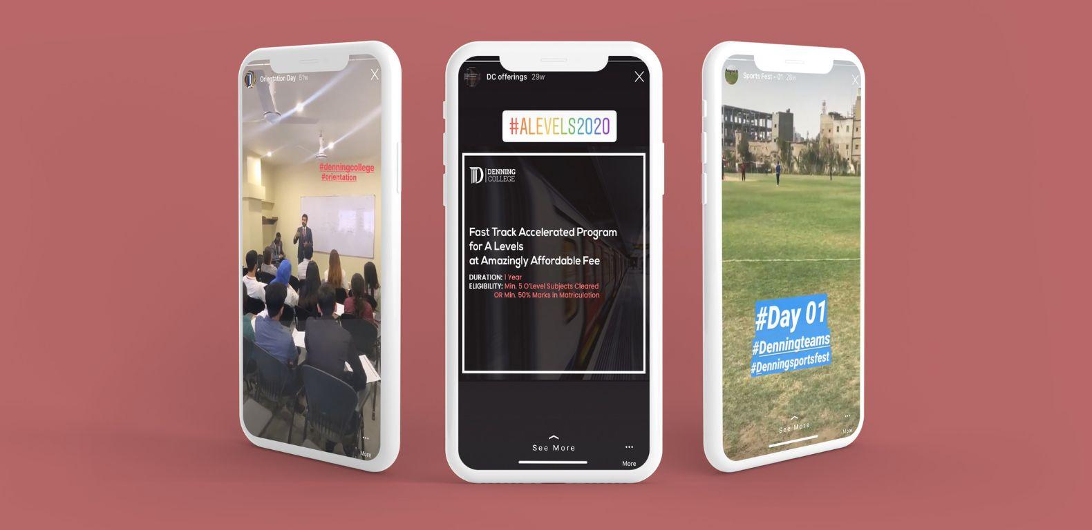 Social-media-marketing-denning-college-Insta-story.